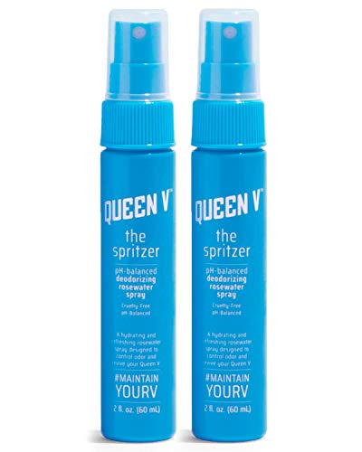 Queen V The Spritzer pH Balanced Rose Water Spray for Women | Deodorizing + Freshening Spray for Feminine Health | Cruelty, Paraben, Alcohol and Gluten Free | Natural, Vegan Feminine Care (2 Pack)