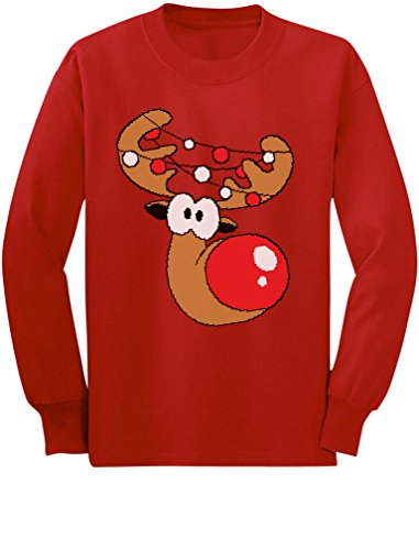 Cute Reindeer Boy Girl Christmas Toddler Kids Long Sleeve T-Shirt 5/6 Red