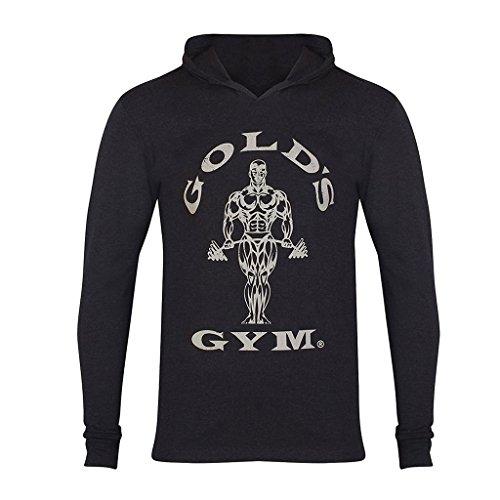 Gold's Gym 2017 Long Sleeve Hooded T-Shirt Mens Training Sports Pullover Hoodie Black Marl XXL