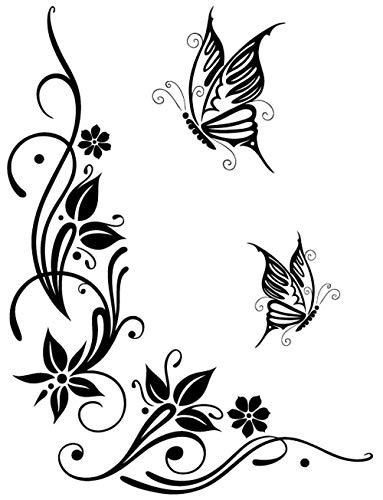DD Dotzler Design 041215 Klebe-Folie Schmetterling Tattoo Tribal Blumen-Ranke Ornament Auto-Aufkleber Vinyl-Folie Auto-Dekor Aufkleber-Folie (schwarz, 43 x 57 cm)