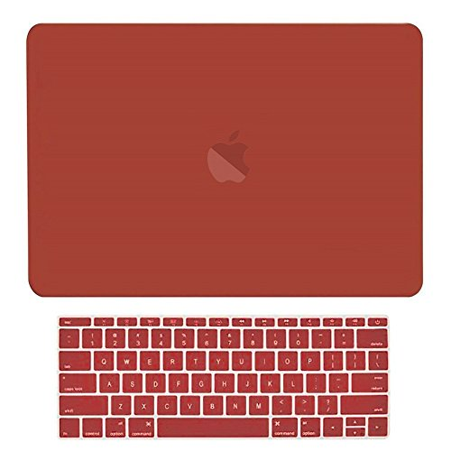 TOP CASE MacBook Pro 13 inch Case 2019 2018 2017 2016 Release Model: A1708 Without Touch Bar, 2 in 1 Signature Bundle Rubberized Hard Case + Keyboard Cover Compatible MacBook Pro 13', Wine Red