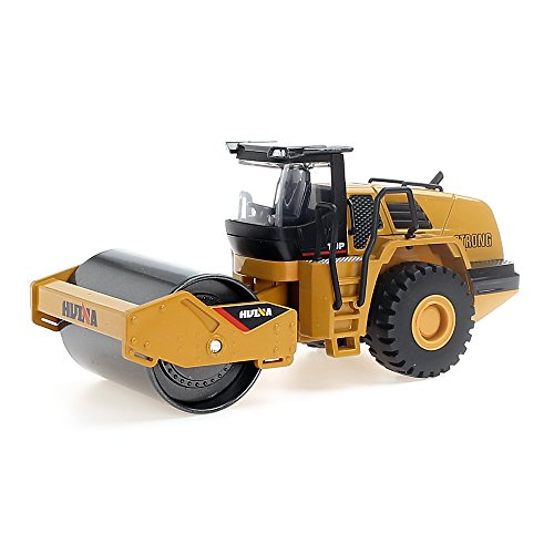 HuiNa 1/50 Scale Diecast Metal Road Roller Truck Construction Toy Vehicle for Kids