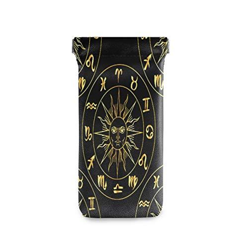 ALARGE Funda para gafas de sol con diseño del zodiaco de la astrología en círculo, portátil, bolsa para gafas, de piel sintética, suave, para niños, hombres y mujeres