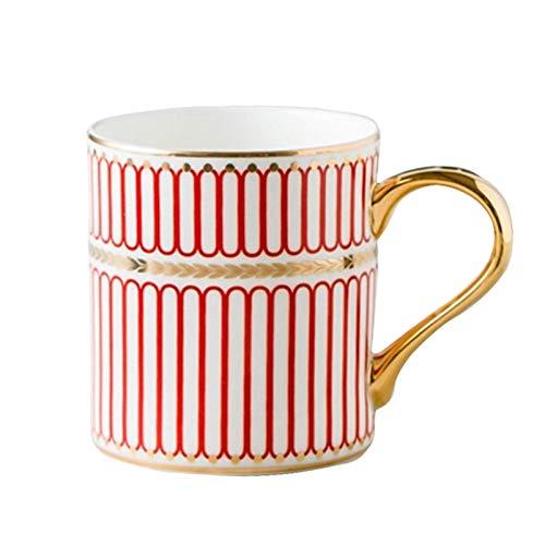Regalos de cumpleaños tazas café vaso termico café para parejas con Handel dorado, 350 ml Taza de desayuno de cerámica esmaltada floral Taza de té de agua caliente con jugo de chocolate con leche