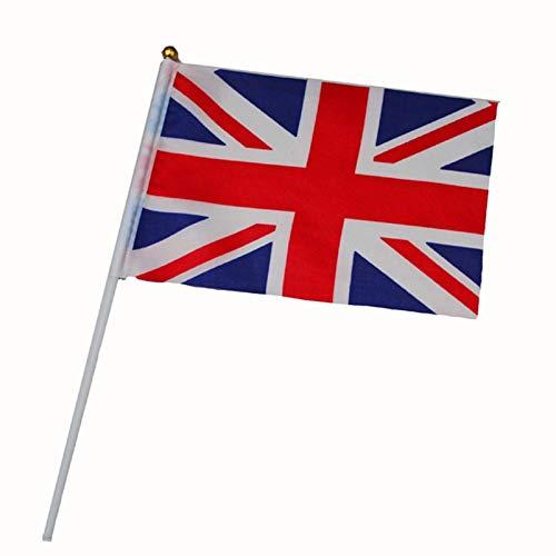 North cool 21 * 14cm Drapeau National du Royaume-Uni Drapeau Angleterre Voler La Grande-Bretagne Royaume-Uni Bannière avec Plastic Mâts Agitant des Drapeaux À La Main (Size : 20pcs)