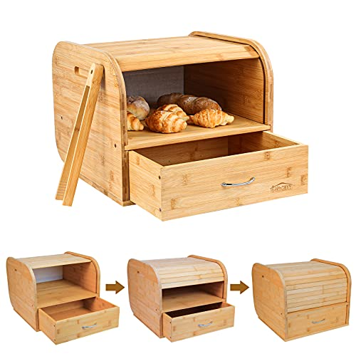 Bamboo Bread Box for kitchen counter large, Wood Bread Box 2 Layer Double Rolltop Bread Bin bread storage box Smoothly Slide Door with Draw-out Type (Self-Assembly)
