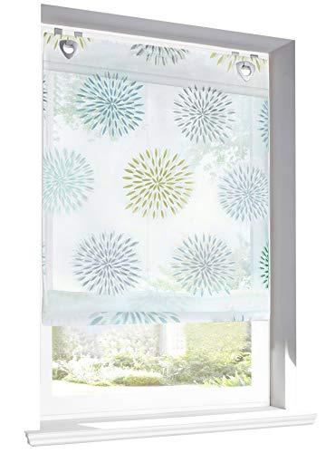 BAILEY JO Raffrollo mit Kreis-Motiven Druck Design Rollos Voile Transparent Vorhang (BxH 100x140cm, Grün mit U-Haken)