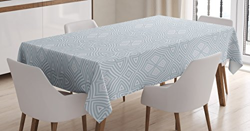 Ambesonne Celtic Tablecloth, Pale Colored Square and Star Shaped Original Retro Tribal Celtic Knot Patterns, Rectangular Table Cover for Dining Room Kitchen Decor, 52' X 70', Blue Grey