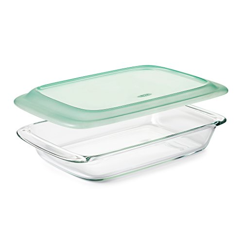OXO Good Grips Freezer-to-Oven Safe 3 Qt Glass Baking Dish with Lid, 9 x 13,Clear,9 x 13""