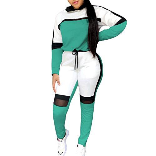 Yingshu Damen 2 Stück Outfit Langarm Farbe Spleißen Mesh Hoodie Sweatshirt+Skinny Long Pants Trainingsanzüge Set