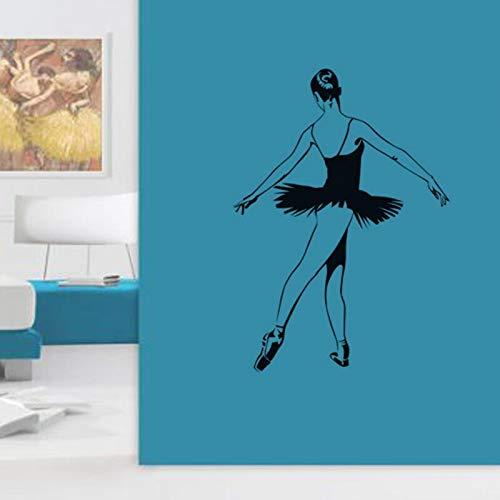 Tianpengyuanshuai Ballett Tanz Wandaufkleber Ballerina Wandtattoos Wandbilder Wohnkultur Wohnzimmer Dekoration Mädchen Schlafzimmer Abziehbilder44X61cm