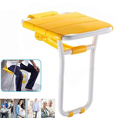 EEUK Duschklappsitz Wandmontage rutschfest Duschhocker Klappbar Badhocker Barrierefreie Sicherheit Klappstuhl Duschhilfe für Senioren/Behinderte Yellow