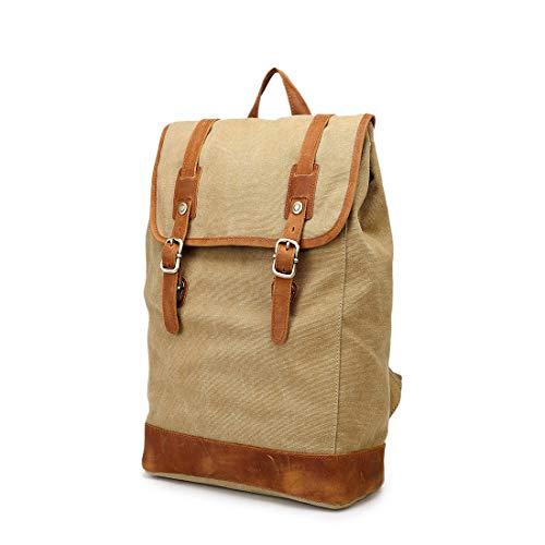 HOUYAZHAN Vintage Herren- / Damenrucksack Daypack wasserdichte Drucktaste Leinwand 14-Zoll-Laptop Student Outdoor Shopping Farbe: Grau (Farbe : Khaki)