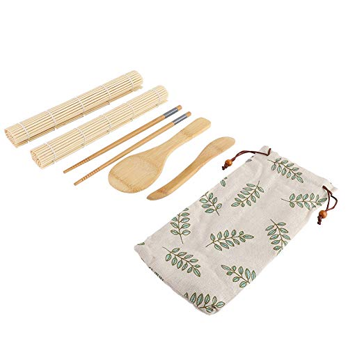Sushi Tableware,100% Bamboo Sushi Kit Rolling Mats Rice Paddle Rice Spreader Chopsticks