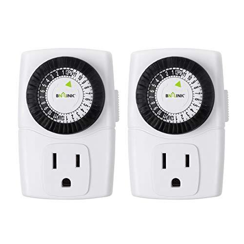 BN-LINK BND-60/U47 Indoor Mini 24-Hour Mechanical Outlet Timer, 3-Prong, 2-Pack