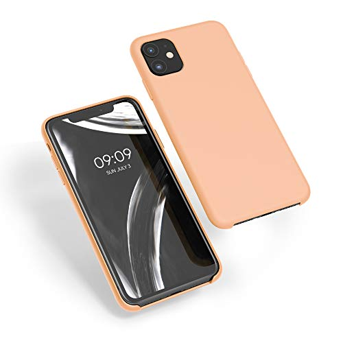 kwmobile TPU Silicone Case Compatible with Apple iPhone 11 - Slim Protective Phone Cover with Soft Finish - Peach