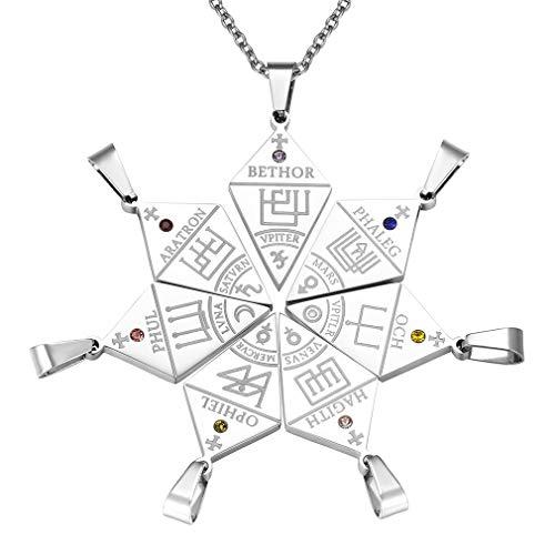 Siete Juegos Sello de Siete Arcángeles Collar Puzzle con Cristales Colorados Acero Inoxidable Plateado Collar de Semanas y Horóscopo Signo Doce Constelaciones Talisman de Protección Familia