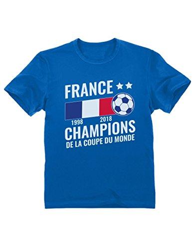 Green Turtle T-Shirts France Vainqueur Coupe du Monde de Football 2018 T-Shirt Garçon 7/8 Ans 128cm Bleu