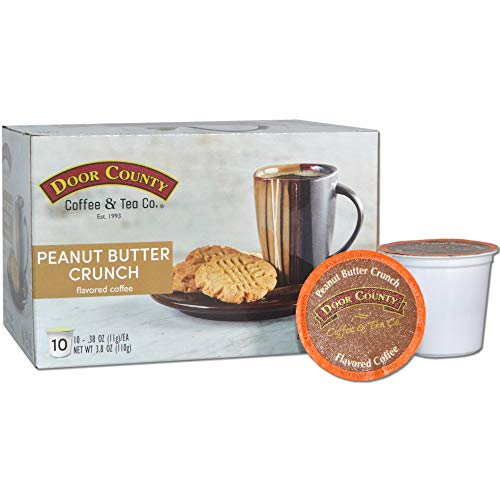 Door County Coffee, Single Serve Cups for Keurig Brewers, Peanut Butter Flavored Coffee, Medium Roast, Ground Coffee, 10 Count