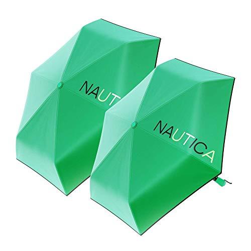 "2-Pack Nautica Umbrella Windproof - 3-Section Auto Open Travel Umbrella - Sturdy Rainy Day Protection with Ergonomic Handle, 42"" of Coverage"