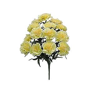 for Yellow Carnation Bush Artificial Silk Flowers 18″ Bouquet 14-6996 YL Floral Décor Home & Garden
