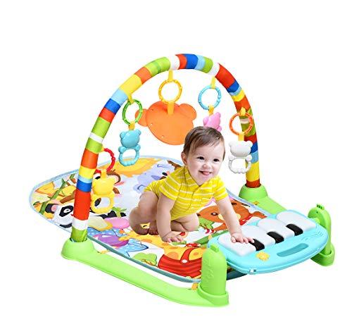 DREAMADE Baby Spieldecke mit Licht & Musik, Kinder Erlebnisdecke Spielmatte mit Spielbogen und Klaviertastatur, Kick & Play Piano, Abnehmbare Anhänger, Krabbeldecke für Neugeborene