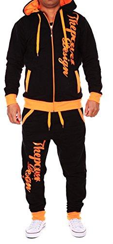 Violento Kinder Jungen Jogginganzug Jogging Hose Jacke Sportanzug Sporthose Fitness Hoodie schwarz/orange XS 164