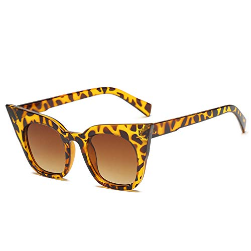 DLSM Sonnenbrille Cat Eye Retro Sonnenbrille Frauen und Kinder Mode Kinder Sonnenbrille Strand Sonnenbrille Reisebrille-Leopard_Erwachsenengröße