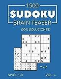 1500 Sudoku Brain Teaser 9x9 con soluciones Nivel 1-3 Vol. 4