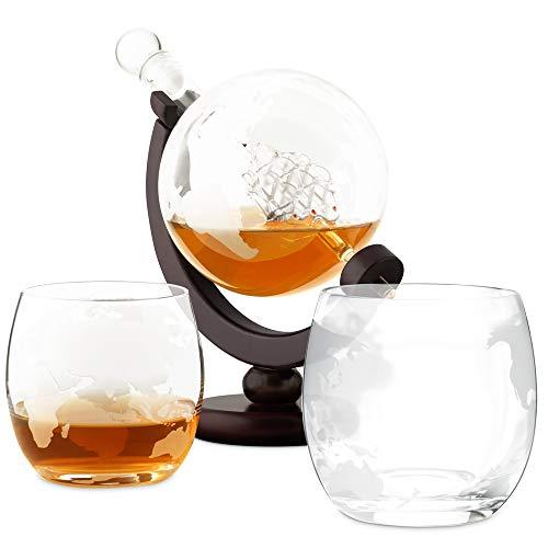 Murrano Whisky Karaffe - Globus mit Schiff, 850 ml - 4er Whiskygläser Set - Whisky Dekanter - (Ungraviert, Mit 2 Gläsern)