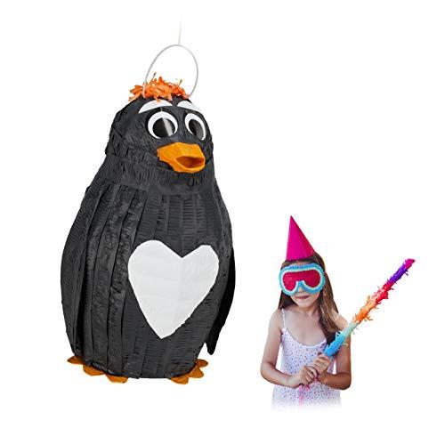 Relaxdays Pinata Pinguin, zum Aufhängen, Kinder & Erwachsene, Geburtstag, zum Befüllen, HxBxT 42 x 21 x 21 cm, schwarz