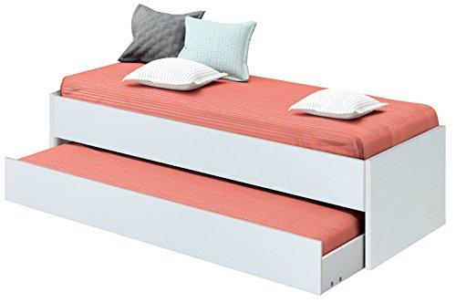 Abitti Cama Nido de Dormitorio Juvenil Color Blanco Brillo, somier Inferior Incluido, para colchones de 190x90cm. 202cm Ancho x 97cm Fondo x 54cm Altura
