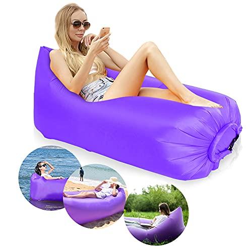 Yuragim Aufblasbares Sofa, Wasserdichter Aufblasbares Liege, Luftsofa Outdoor Wasserdicht Air Sofa Faltbar und verschleißfest - Aufblasbare Couch für Outdoor Reisen, Camping, Pool,Strand - Lila