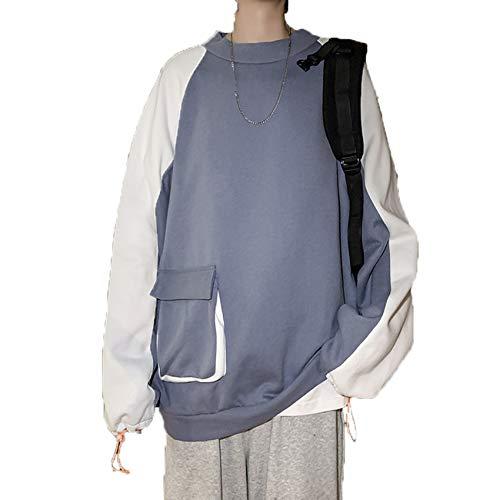 Herbst/Winter Herrenpullover Rundhals-Pullover Raglan Color Matching Casual Loose Sweatshirt
