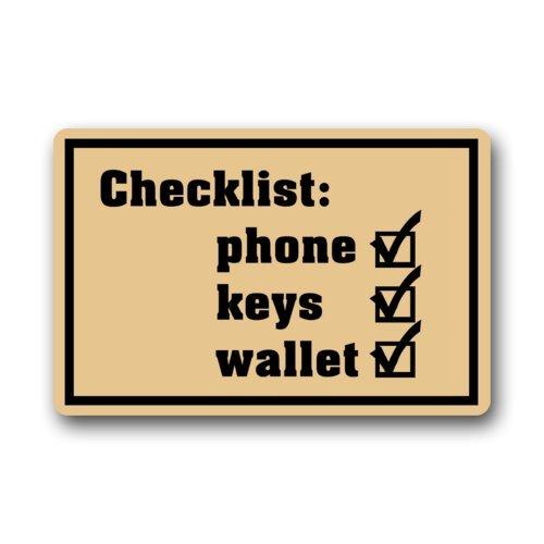Niet-slip rechthoek grappige humoristische deurmat, checklist telefoon sleutels portemonnee ontwerp binnen en buiten ingang vloermat deurmat - 23.6