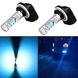 Alla Lighting 3800lm 889 881 LED Fog Light Bulbs Xtreme Super Bright 898 881 LED Bulb ETI 56-SMD LED 881 DRL Lights, 8000K Ice Blue (Set of 2)