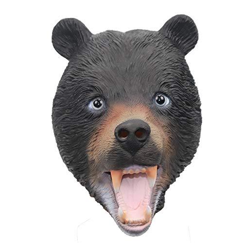 Wild Bear Animal Mask Head Mask for Halloween Costume Party Cosplay (Black Bear)