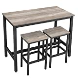 VASAGLE Bar Table Set, Bar Table with 2 Bar Stools, Breakfast Bar Table and Stool Set, Kitchen Counter with Bar Chairs, Industrial for Kitchen, Living Room, Party Room, Greige and Black ULBT015B02