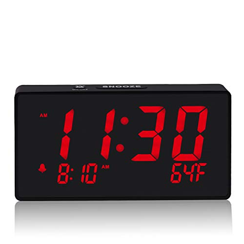 Digital Alarm Clock with Simple Operation, Adjustable Alarm Volume, Full Range Brightness Dimmer, Large 6' Red LED Screen, USB Port for Charging, Temperature, Electric Clocks for Bedrooms, Bedside