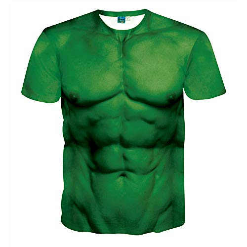 Unisex T-Shirt 3D Muscle Funny Printed Graphic Short Sleeve Round Neck Casual Top Shirt Tops Tee Pure Green Sixpack ABS T-Shirt für Herren M-5XL, L