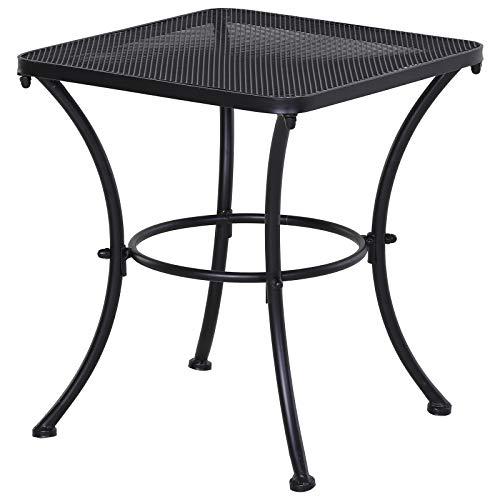 Outsunny Square Garden Metal Bistro Table Outdoor Patio Coffee Side Desk - Black 45L X 45W X 50H CM