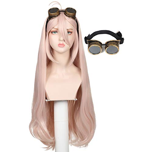 FantaLook Long Light Pink Wig with Glasses for Halloween