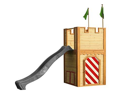 AXI Spielhaus Arthur mit grauer Rutsche | Spielschloss aus FSC Holz für Kinder | Spielturm für den Garten