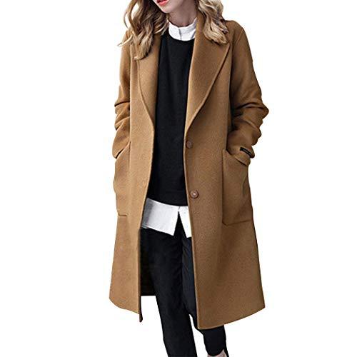 HANMAX Damen Wollmantel Lange Wolljacke mit Reverskragen Wintermantel Frauen Elegant Business Slim Fit Langemantel Warme Winterjacke