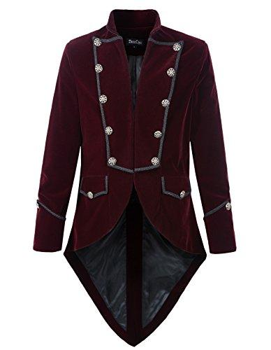 DarcChic Mens Steampunk Tailcoat Jacket Velvet Gothic VTG Victorian (M, Burgundy)