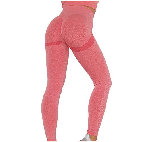 SHOBDW Pantalón Deportivo de Mujer Cintura Alta Leggings Mallas para Running Training Fitness Estiramiento Zumba Yoga y Pilates Pantalón Medio Multicolor(Rojo,L)