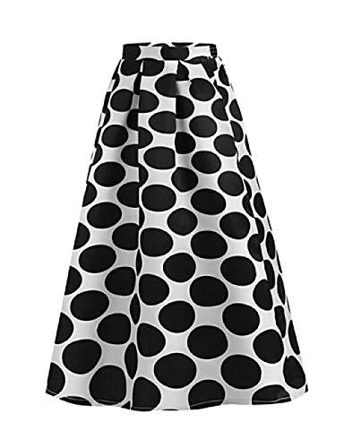 Vrouwen s Basic Maxi Swing Rokken - Polka Dot Rood Navy Blauw Fuchsia/Slim