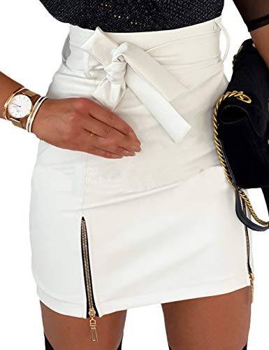 xxxiticat Women's High Waisted PU Mini Skirt Side Split Faux Leather Pencil Skirts with Tie Belt(WH,M) White