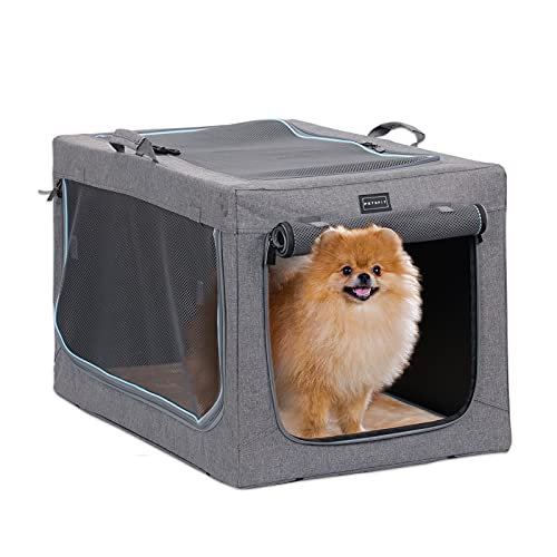 Petsfit Faltbare Hundebox Hundetransportbox tragbares Transportbox Katzenbox Auto Stoff für große kleine Hunde mit Fleece Matte
