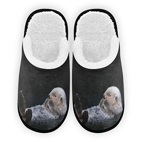 Zapatillas para hombre y mujer, forro de felpa de nutria blanca, cómodas, cálidas de forro polar de coral para interior y exterior